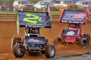 Ed Lynch Jr and Dale Blaney battle for position