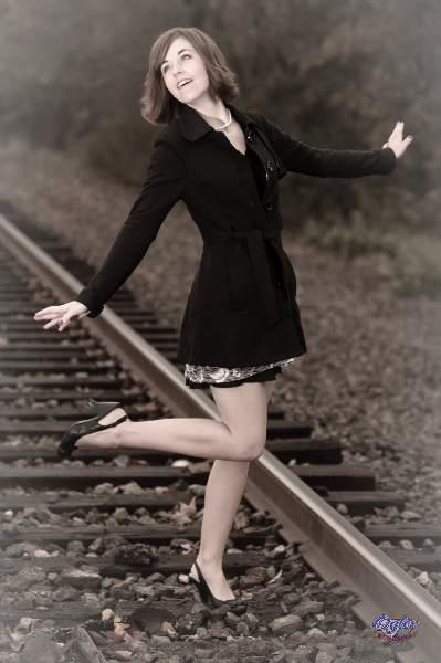 High school senior portrait shoot on the rails with Victoria Blaire